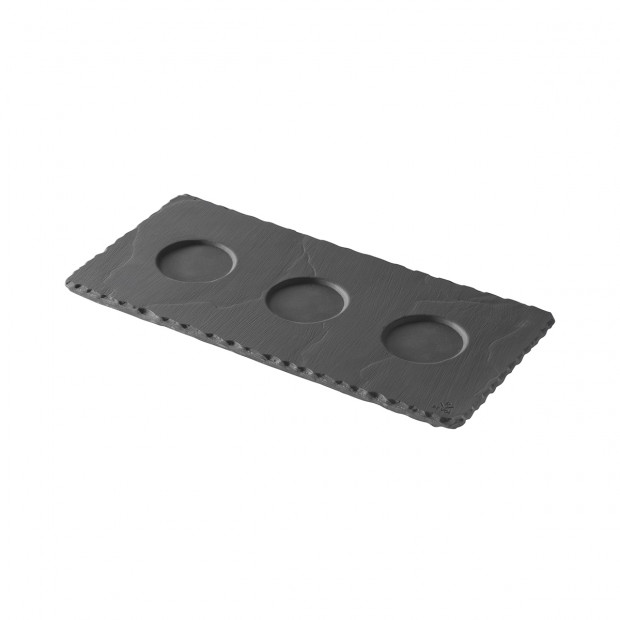 tray with 3 indents - black - 25 x 12 cm