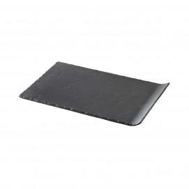 Assiette rectangulaire 1 bord relevé - Noir brut - 33 x 20 cm