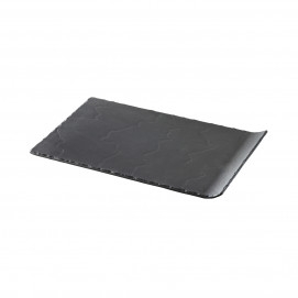 rectangular plate 1 curved edge - black - 33 x 20 cm