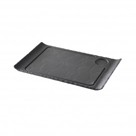 steak plate curved edges - black - 39.5 x 24 cm