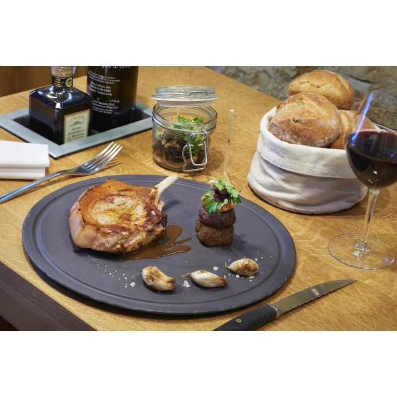 assiette steak ronde en c ramique. Black Bedroom Furniture Sets. Home Design Ideas