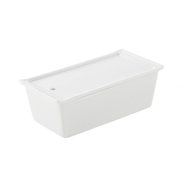 rectangular terrine with lid/tray - white
