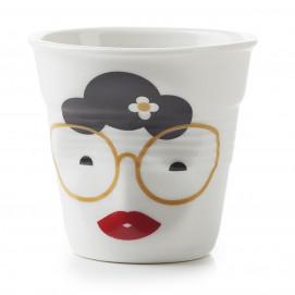 """espresso tumbler, decorated 2 3/4 oz """"mr and mrs binocle"""" - Diam. 6.5 cm H. 6 cm"""