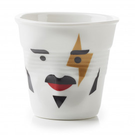 "Gobelet Espresso 8 cl - Décor ""Monsieur & Madame Rock star"" - Diam. 6,5 cm H. 6 cm"