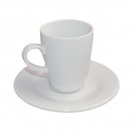 tall espresso cup and saucer Alaska - white - Diam. 12.5 cm H. 8.5 cm