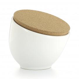Main à sel 35 cl avec couvercle liège - Diam. 12 cm H. 11,5 cm