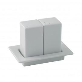 Ensemble sel/poivre sur plateau - Blanc - 11 x 7,3 x 8 cm