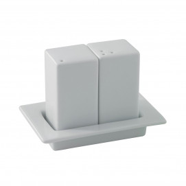 salt / pepper set on tray - white - 11 x 7.3 x 8 cm