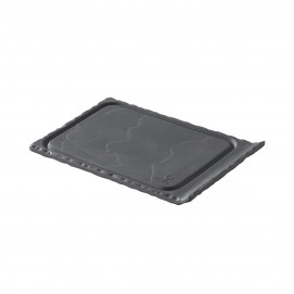 small grooved tray - black - 11.5 x 8 cm
