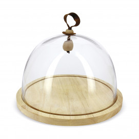 Large cloche and wooden base