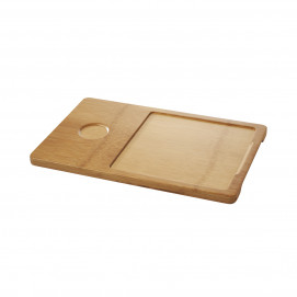 Tray for square 20 cm plate + 25 cl Basalt bowl - Bamboo - 37 x 24 x 1.7 cm