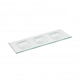 Plateau 3 compartiments carrés - Verre - 34 x 13 x 2 cm