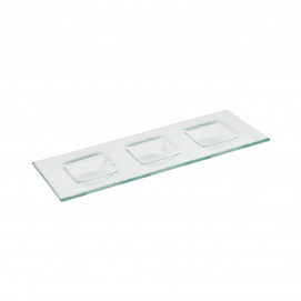 Tray with 3 square sections - Glass - 34 x 13 x 2 cm