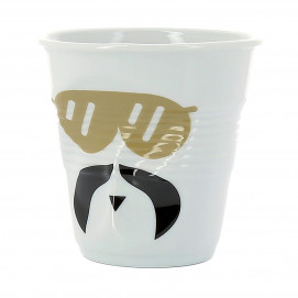 "cappuccino tumbler, decorated 6 1/4 oz ""mr and mrs glam"" - Diam. 8.5 cm H. 8.5 cm"