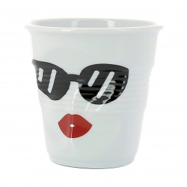 "espresso tumbler, decorated 2 3/4 oz ""mr and mrs Glam"" - Diam. 6.5 cm H. 6 cm"
