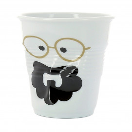 "Gobelet Espresso 8 cl - Décor ""Monsieur & Madame Boheme"" - Diam. 6,5 cm H. 6 cm"
