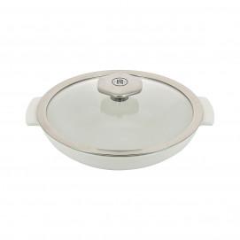 Sauteuse blanche 80 cl avec poignée inox - Diam. 22 cm H. 10 cm - Four et table