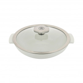 White saute pan 80 cl with stainless steel handle - Diam. 22 cm H. 10 cm - Oven and table