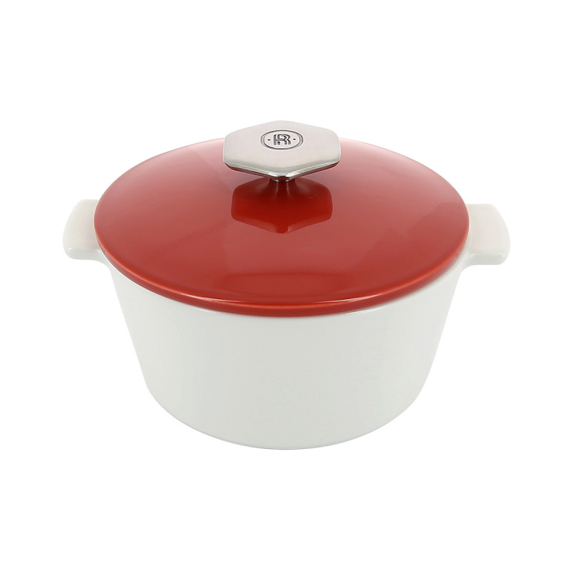 Ceramic Round Casserole Dish 1 2 L Stainless Steel Handle