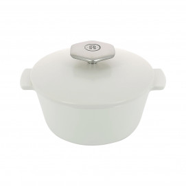 Round casserole dish 80 cl with stainless steel handle - Diam. 16.4 cm H. 10.7 cm - Oven and table