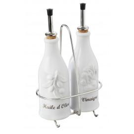 Ensemble huile/vinaigre avec support inox - Blanc - 15 x 8,7 x 23 cm
